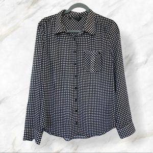 Guess large black white checkered button top sheer